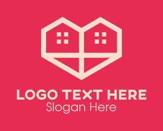 Rental - Double Heart House logo design