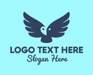 Flying - Blue Flying Owl logo design