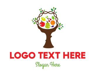 Edible - Tree Fruit Basket logo design
