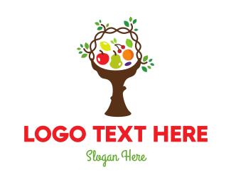 Pear - Tree Fruit Basket logo design