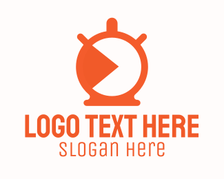 Timepiece - Orange Stopwatch Timer logo design