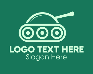 Cannon - Green Military Tank logo design