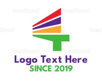 Ck - Colorful Stripe Number 4  logo design