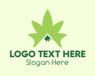 High - Green Cannabis Mountain Peak logo design