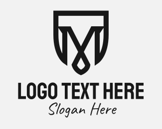 Initial - Black Shield Letter M logo design