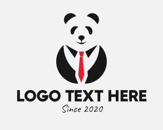 Mens Grooming - Panda Tuxedo Attire logo design