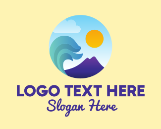 Tsunami - Seaside Mountain Wave Landscape logo design