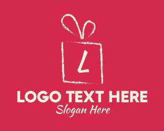 Gift Wrapping - Brushstroke Gift Lettermark logo design
