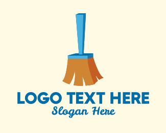 Sweeper - 3D Broomstick  logo design