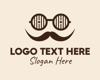 Men - Hipster Glasses Mustache  logo design