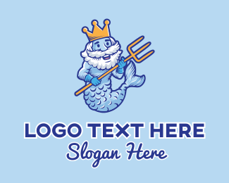Mythical - Ocean Mermaid King logo design