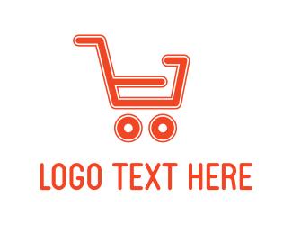 Supermarket - Red Shopping Cart logo design