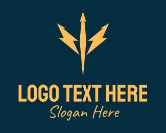 Poseidon - Golden Lightning Trident  logo design