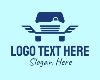 Service Station - Blue Wings Car  logo design