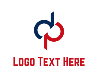 P - Blue & Red Letters logo design
