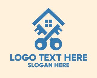 Property Management - Blue Housing Locksmith Key logo design