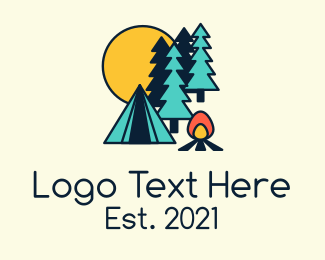 Camp Shop - Night Forest Campsite logo design