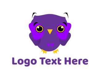 Cute Purple Owl Logo