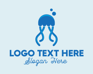 Ocean Blue Jellyfish Logo