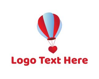 Hot Air Balloon - Love Balloon logo design