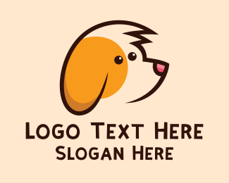 Dog Head - Cute Dog Cartoon logo design