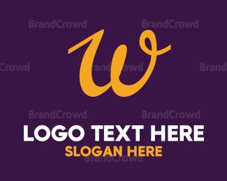 Cosmetic - Cursive Orange Letter W logo design