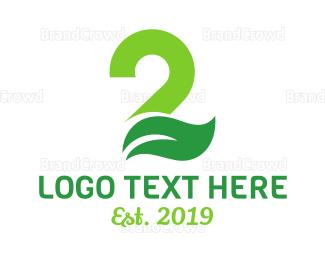 Second - Green Leaf Number 2 logo design