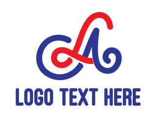 Red And Blue - Red Blue LA Stroke logo design