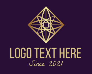 Atom - Golden Atomic Science logo design