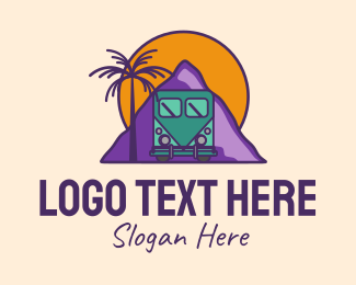 Tour Bus - Sunset Mountain Adventure  logo design