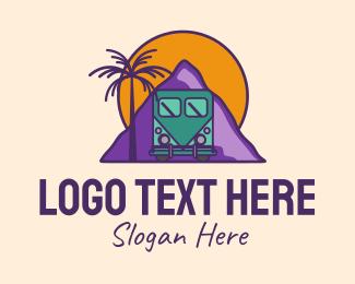 Road Trip - Sunset Mountain Adventure logo design