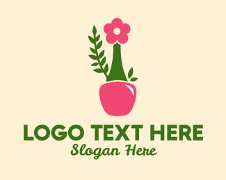 Makeup Tools - Flower Nail Polish Bottle logo design