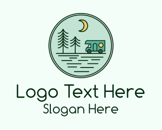 Camp Out - Trailer Camping Emblem  logo design