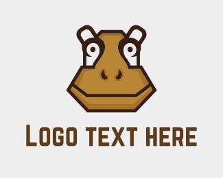 Hippo - Brown Hippopotamus logo design