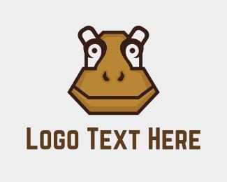 Hippo - Brown Hippopotamus logo design