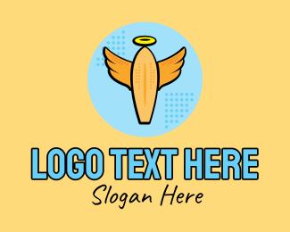 Surf Instructor - Retro Surfing Angel Pop Art logo design