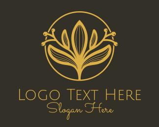 Elite - Golden Flower Badge logo design