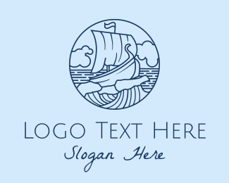 Coast Guard - Viking Boat Ship Waves  logo design