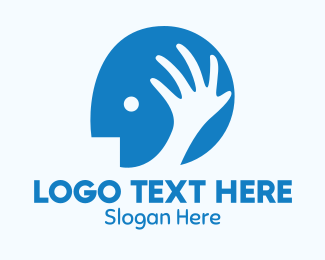 Massage Therapy - Blue Head Hand logo design