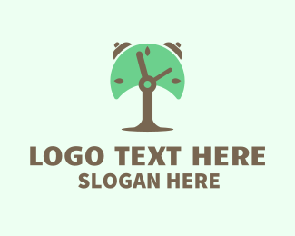 Alarm - Tree Alarm Clock logo design