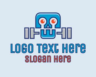 Dumbbell - Dumbbell Robot logo design