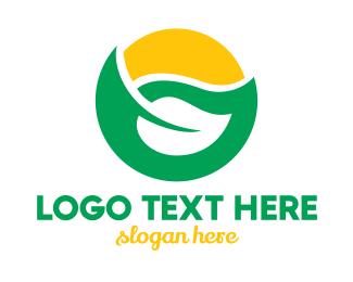 Life - Green Leaf Sun logo design