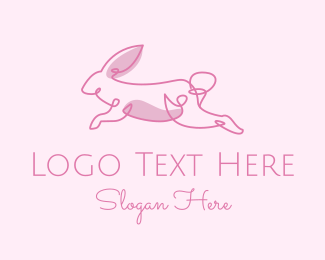 Blue Rabbit - Pink Minimalist Rabbit logo design