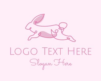 Ear - Pink Minimalist Rabbit logo design