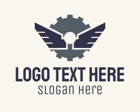 Steampunk - Mechanical Gear Wings logo design