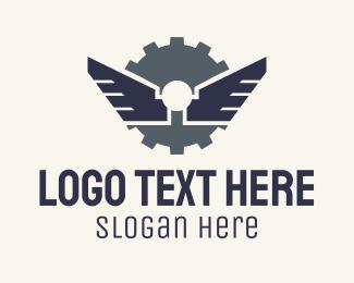Robotic - Mechanical Gear Wings logo design