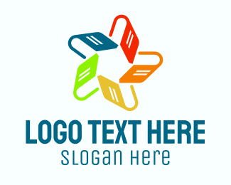 Literacy - Rainbow Book Library Star logo design