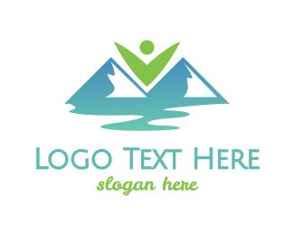 River - Eco Valley Mountains logo design
