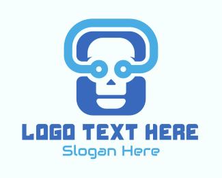 Programmer - Blue Tech Skull logo design