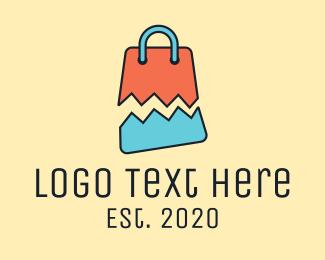 Shop - Broken Shopping Bag logo design